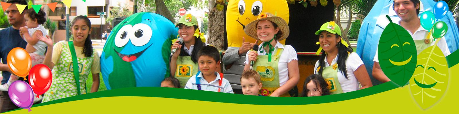 Fiesta infantil y cumpleaños Escena verde
